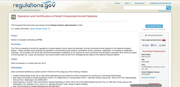 FAA NPRM sUAS FLYSAFE